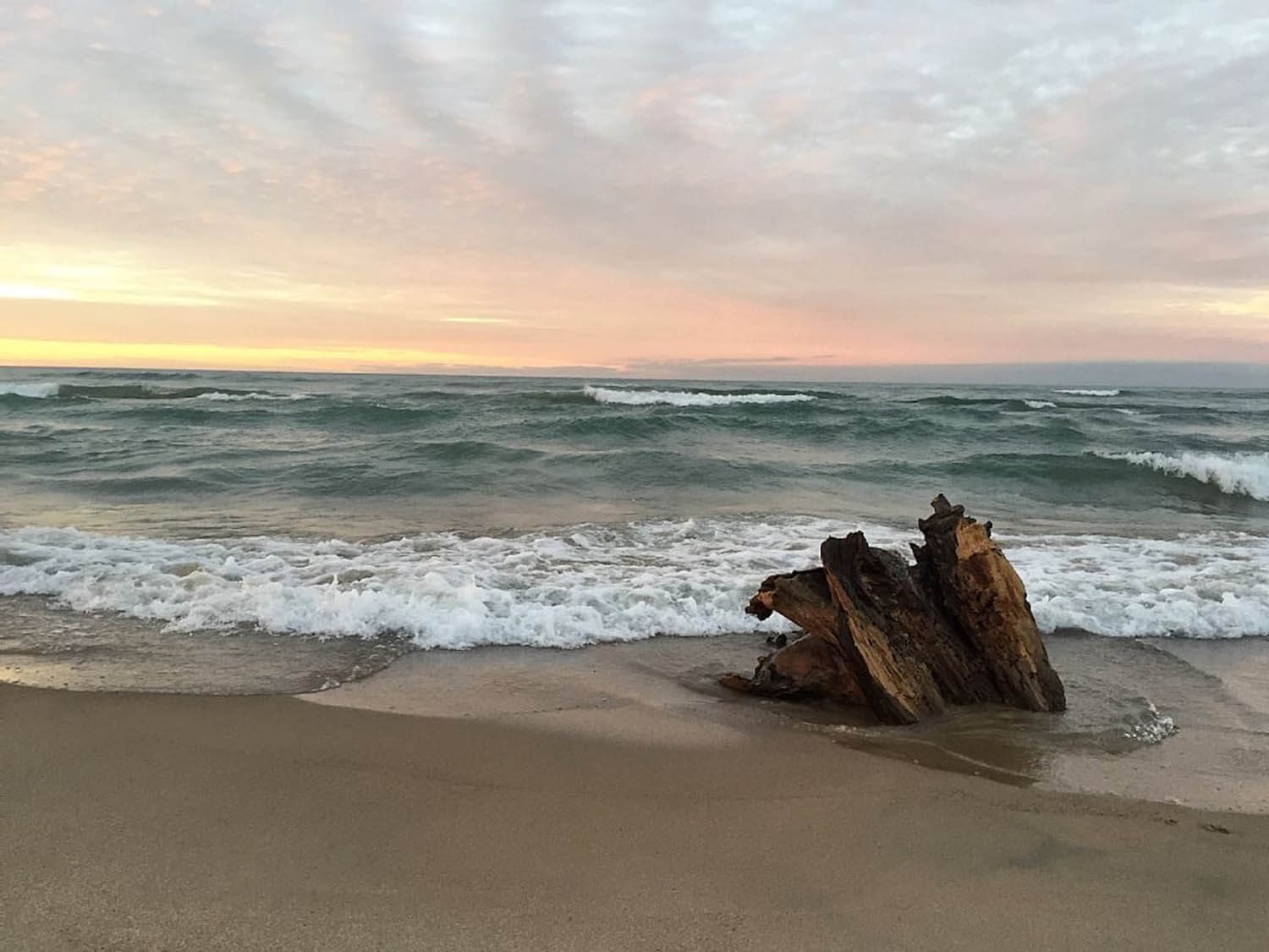 Waves of Lake Michigan are crashing onto the sandy beach. There is a large piece of driftwood in the sand. The sun is setting and the sky is beautiful shades of grey, blue, pink, and yellow.