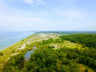 An aerial view of the Lake Michigan shoreline and the greenery of the Indiana Dunes National Lakeshore.