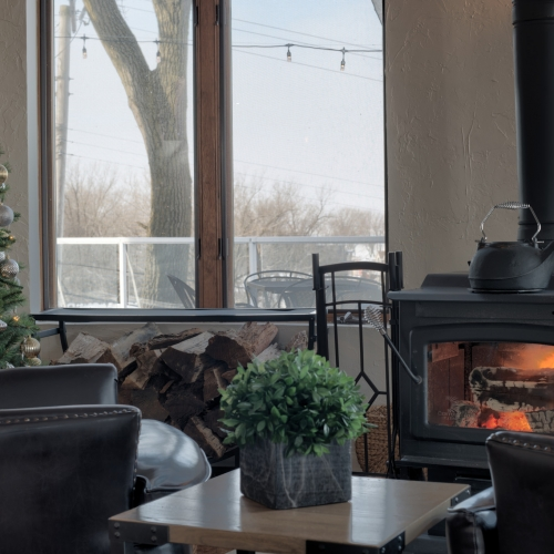 Two brown leather chairs face a wood burning fire place, between the chairs is a wooden side table with a green potted plant on top. A window reveals a view of the patio with Lake Michigan in the distance.